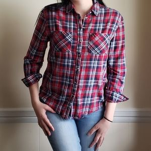 BDG Red Plaid Button Down Top XS